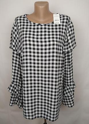 Блуза новая стильная в клетку рюши воланы george uk 16/44/xl