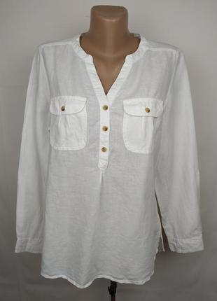 Блуза рубаха белая стильная льняная f&f uk 14/42/l