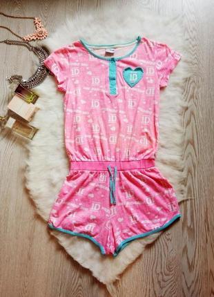 Яркий розовый ромпер комбинезон пижама хлопок с принтом на резинке шортами