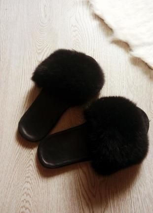 Черные полностью натуральные шлепки с мехом кожа и кролик ангора сандалии кожаные