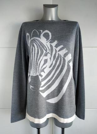 Изумительный шерстяной свитер evelin brandt премиум класса с принтом зебры