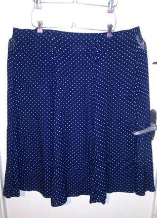 Натуральная,летняя,тёмно-синяя юбка-трапеция,в горошек,на резинке,большого размера,кипр