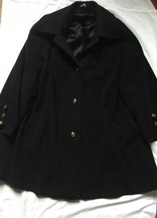 Шерстяное кашемировое полу пальто оверсайз