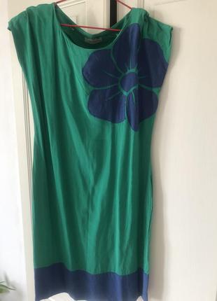 Платье зелёное синие цветок