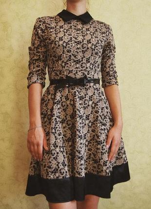 Красивое платье с поясом-бантиком