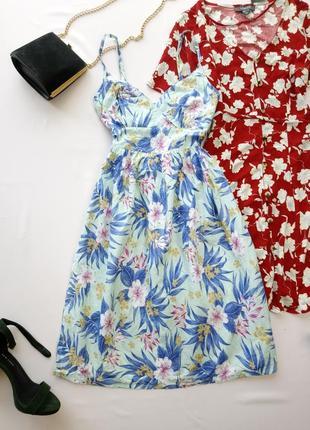 Красивое бирюзовое платье в цветы из хлопка papaya