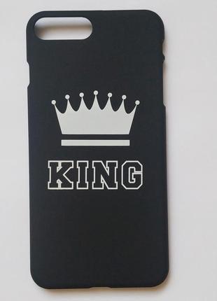 Чехол для телефона накладка на мобильный чёрный с надписью king на iphone 7 plus айфон