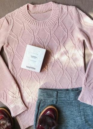Теплый вязаный свитер джемпер полушерсть цвета наложенный платеж