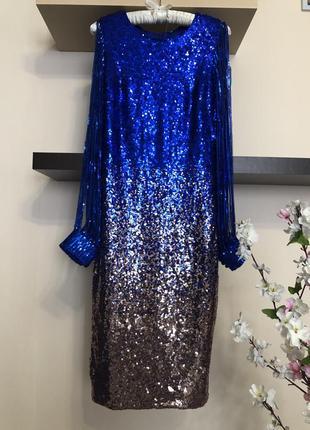 Супер шикарное вечернее миди платье с пайетками,