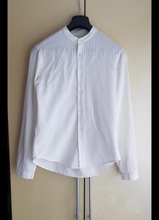 Крута котонова сорочка hugo boss slim fit комір стійка довгий рукав без коміра