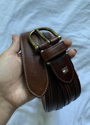 Брендовий кожаный коричневый ремень /пояс от томми хелфигер