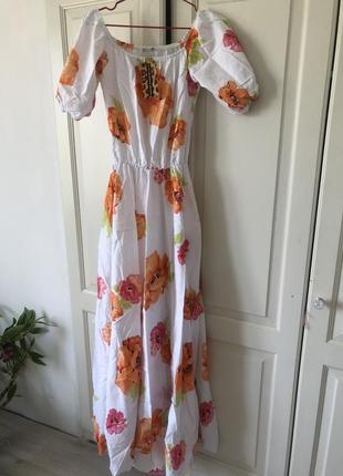 Платье легкое нежное льняное белое цветы яркие