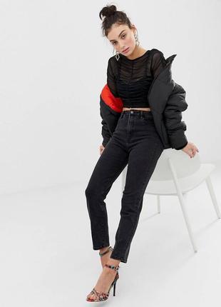 Чёрные джинсы стрейч в винтажном стиле f&f