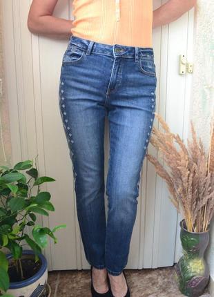 Джинсы с вышивкой синие джинсы стильные джинсы бесплатная доставка