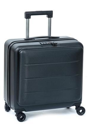 Дорожная чемодан 1 маленький abs-пластик 18 горзонт black молния