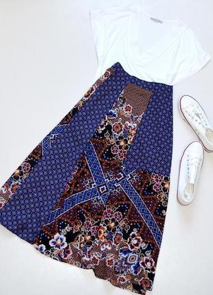 Шикарная юбка,а-силуэт,принт в стиле пэчворк,размер 12