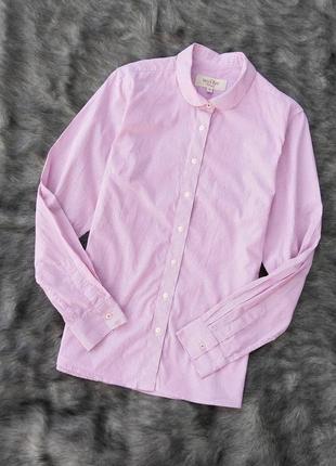 Хлопковая блуза рубашка в тонкую розовую полоску