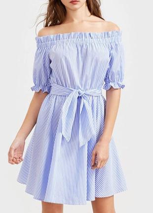 Платье плаття сарафан со спущенными плечиками с поясом в полоску новый