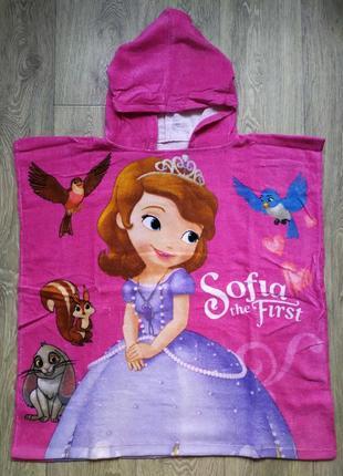 Пляжное полотенце пончо с софией для девочки 60 на 120 см