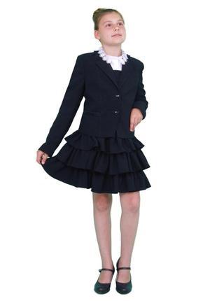 Пиджак школьный для девочки м-1090 рост 134 140 158 164 и 170 синий