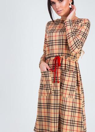 Платье свободного кроя из теплого трикотажа с принтом