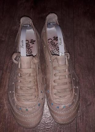Летние кожаные туфли мокасины с перфорацией rieker