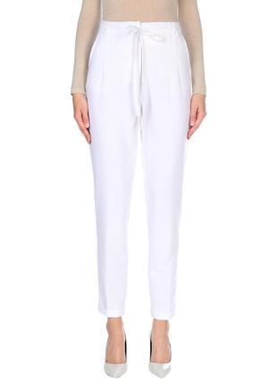 Брюки штаны итальянские белые летние с высокой талией посадкой at.p.co слаксы с защипами