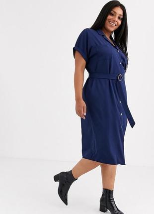 Платье рубашка миди с коротким рукавом на пуговицах с поясом