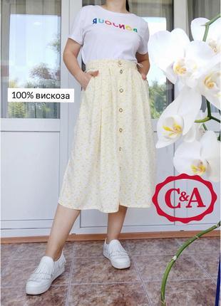 C&a landhaus naturally легкая невесомая юбка миди в цветочный принт на пуговицах