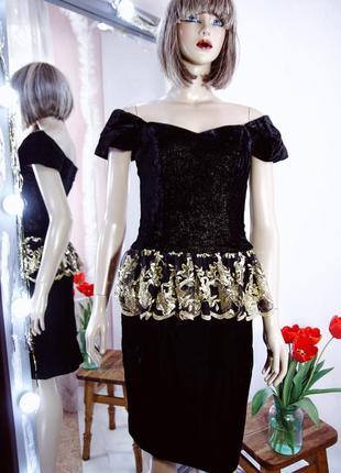 Дизайнерское праздничное нарядное вечернее бархатное платье пайетки миди футляр брендовое