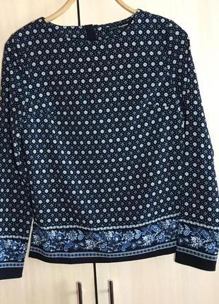 Блуза befree fashion с узором геометрия (синяя, свободная, длинный рукав )