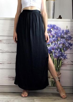 Чёрная юбка макси в пол