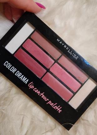 Maybelline color drama lip contour palette палетка помада блеск хайлайтер праймер