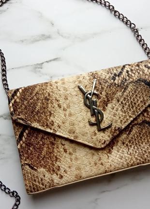 Трендовая сумка рептилия кожаный клатч на цепочке saint laurent змеиный принт кроссбоди
