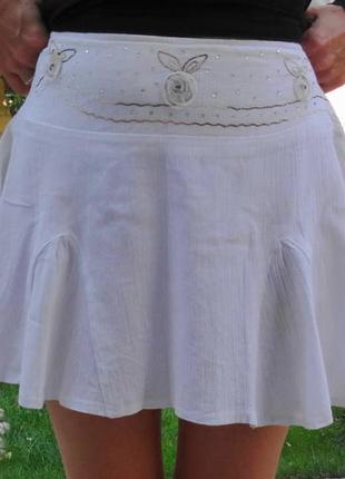 Супер мини белая юбочка