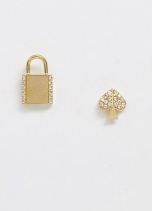 Золотисті  сережки ,серьги  гвоздики сердце , замок від бренду kate spade з сайту asos