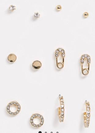 Класний набір з 6 пар золотистих сережок, серьги гвоздики від river island 💎з сайту asos