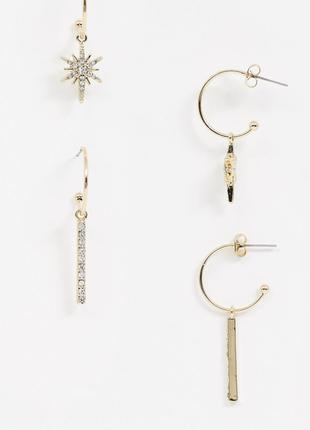 Стильний набір з 2 пар золотистих сережок, серьги гвоздики від pieces 💎з сайту asos
