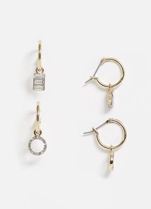 Класний набір з 2 пар золотистих сережок, серьги гвоздики від pieces з сайту asos
