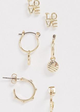 Стильний набір з 3 пар золотистих сережок, серьги гвоздики від pieces💎з сайту asos