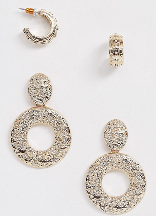 Стильний набір з 2 пар золотистих сережок з текстурою, серьги гвоздики 💎з сайту asos