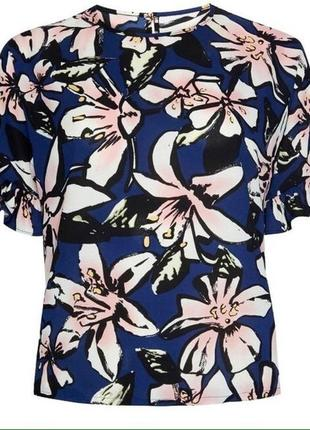 Блуза, блузка в цветочный принт, рукава-рюши, atmosphere, р.s-m