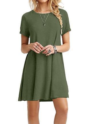 Платье-футляр, платье-футболка хаки, р.m