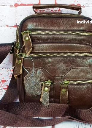 Акция сумка натуральная кожа. кожаная мужская сумка с ручкой. барсетка мужская через плечо