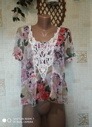 Летняя  блуза мульти цвета с цветочным принтом.