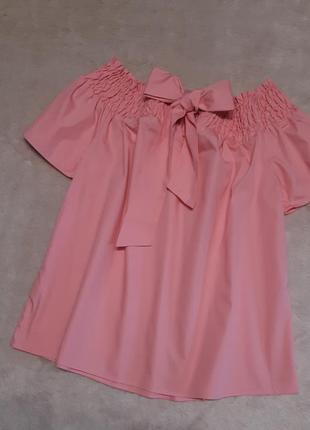 Блуза хлопок на плечи завязка бант короткий рукав размер 8-10 dorothy perkins