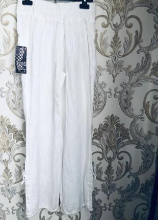 Штаны брюки капри лен льняные лляні белые модные стильные