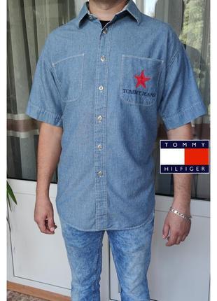 Tommy hilfiger jeans джинсовая оверсайз рубашка с коротким рукавом