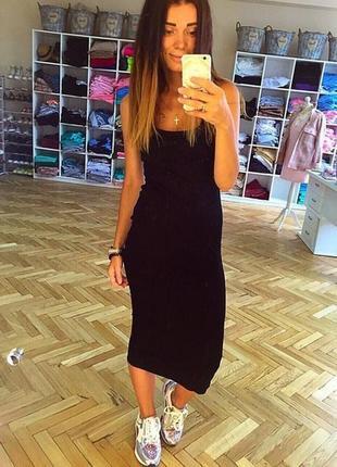 Трикотажное миди платье