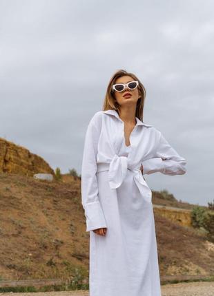 Льняной костюм рубашка и платье-комбинация